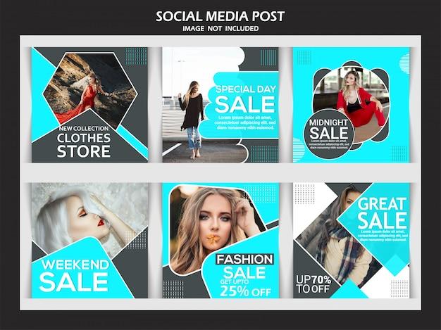 Mode verkoop banner instellen voor sociale media Premium Vector