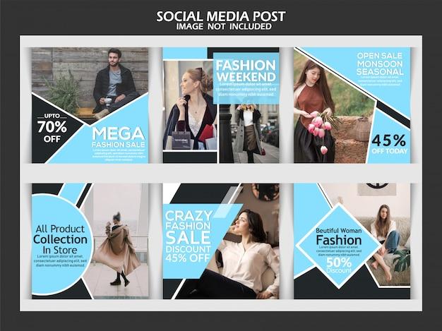 Mode verkoop banner of instagram vierkante set Premium Vector