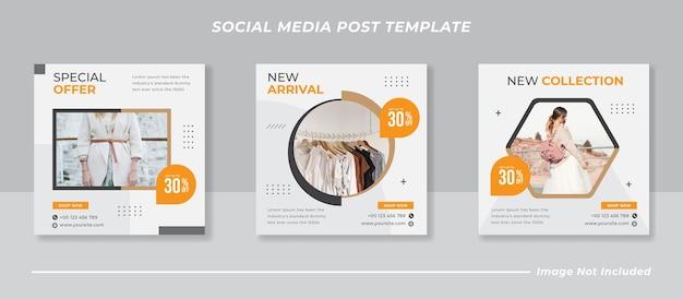 Mode verkoop banner of vierkante flyer voor post-sjabloon voor sociale media Premium Vector
