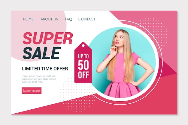 Mode verkoop bestemmingspagina sjabloon Gratis Vector