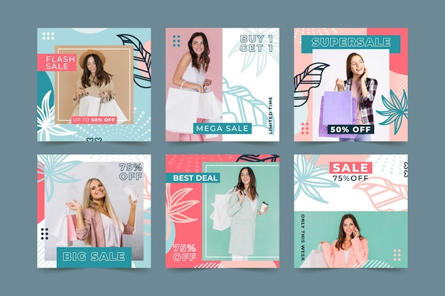 Mode verkoop instagram post collectie Gratis Vector