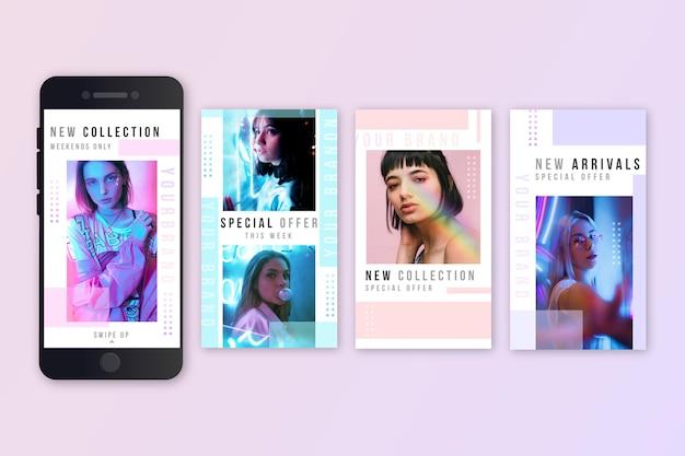 Mode verkoop instagram verhalenpakket Gratis Vector