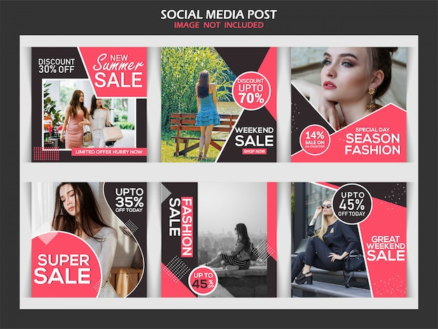 Mode verkoop korting banner set Premium Vector