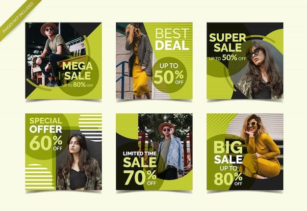 Mode verkoop sociale media banner collectie Premium Vector