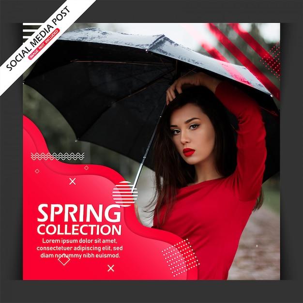 Mode verkoop vierkante banner set of sociale media post sjabloon Premium Vector