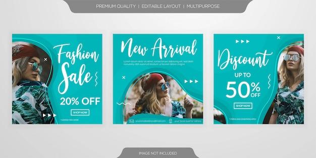 Mode verkoop web sociale media post advertenties sjabloon set Premium Vector