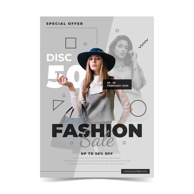 Mode verkoopsjabloon met model Gratis Vector