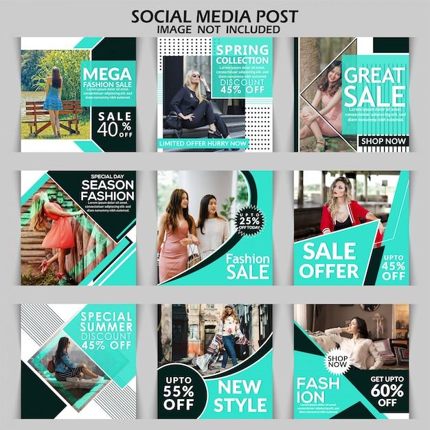 Mode vierkante verkoop banner of instagram post-sjabloon Premium Vector