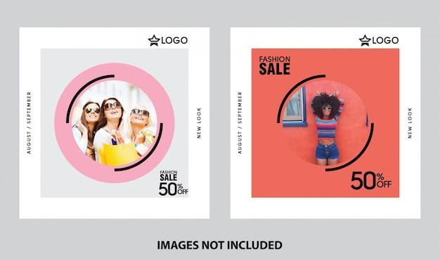 Mode winkelen verkoop social media sjabloon instellen Premium Vector