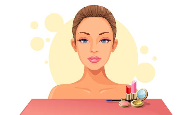 Model gezicht en make-up Premium Vector