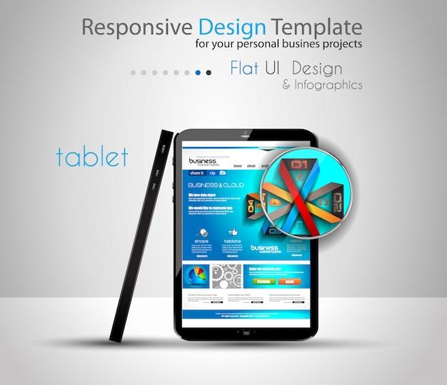 Modellen van moderne apparaten met websjabloon Premium Vector
