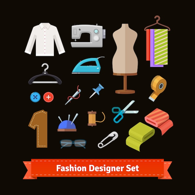 Modeontwerpgereedschap en materialen Gratis Vector