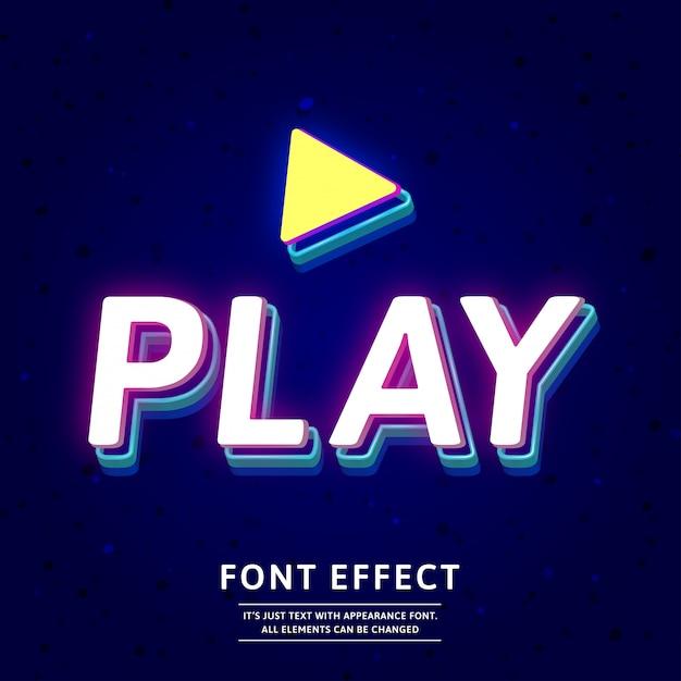 Modern 3d effect van de titeltekst van het neongame Premium Vector