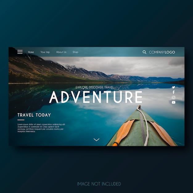 Modern adventure landing page Gratis Vector