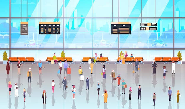 Modern airport interior people passagiers met bagage Premium Vector