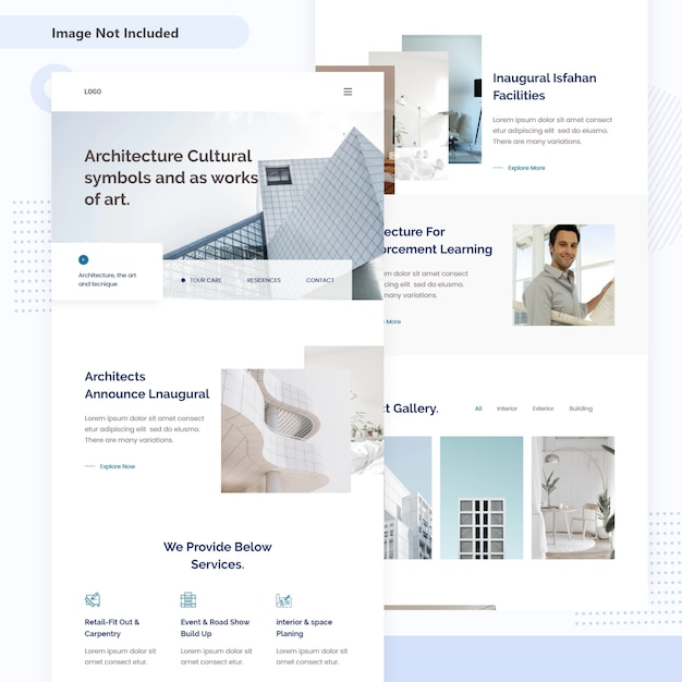 Modern architectuur en interieur bestemmingspagina-ontwerp Premium Vector