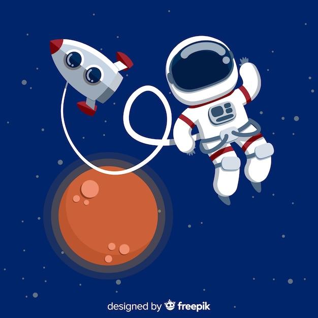 Modern astronautenkarakter met vlak ontwerp Gratis Vector