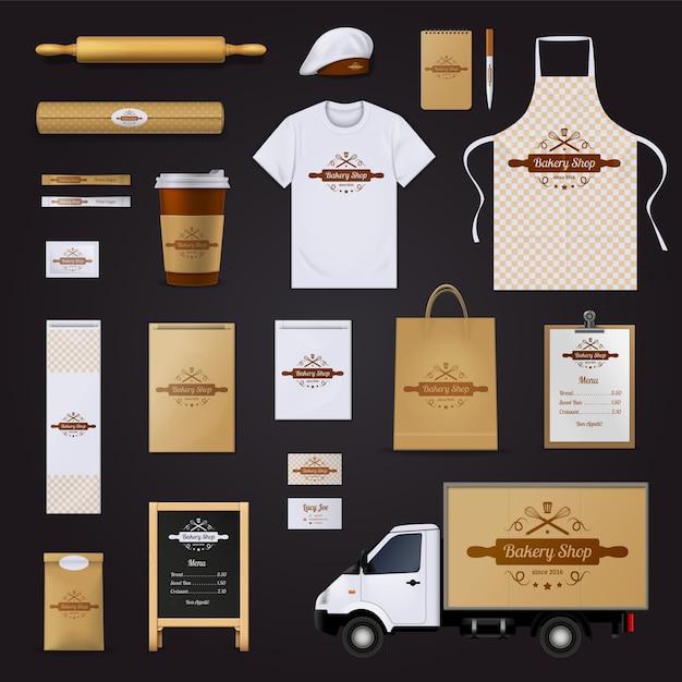 Modern authentiek bakkerswinkel huisstijlmenu Gratis Vector