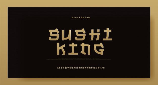 Modern azië gouden alfabet lettertype. typografie japan Premium Vector