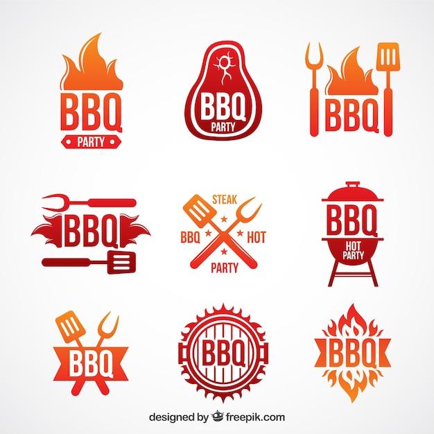Modern barbecue labels set Gratis Vector