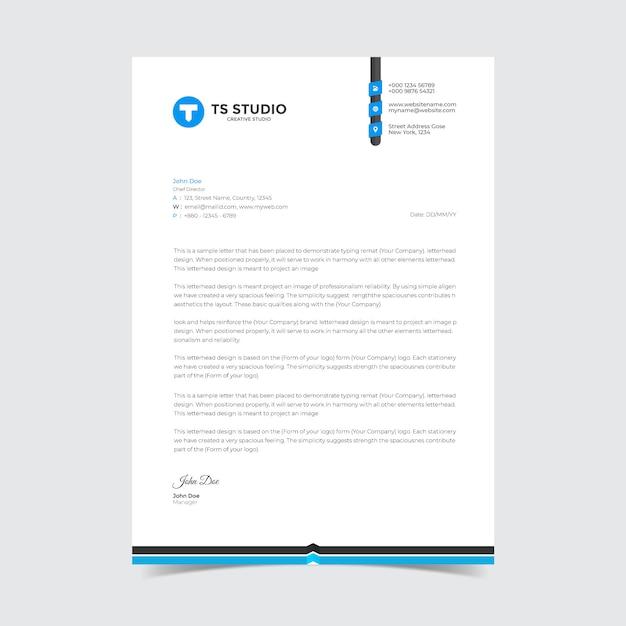 Modern bedrijf briefhoofd ontwerpsjabloon Premium Vector