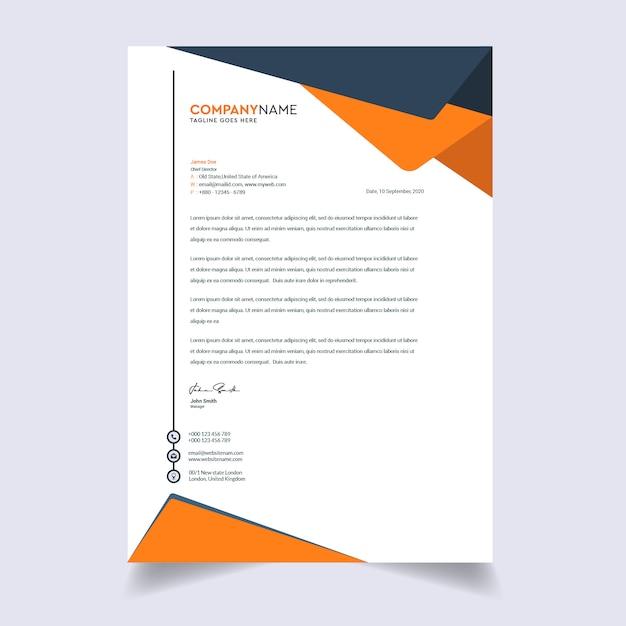 Modern bedrijf briefhoofd sjabloonontwerp Premium Vector