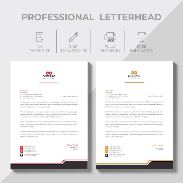 Modern bedrijfsbriefpapier in verschillende kleuren Premium Vector