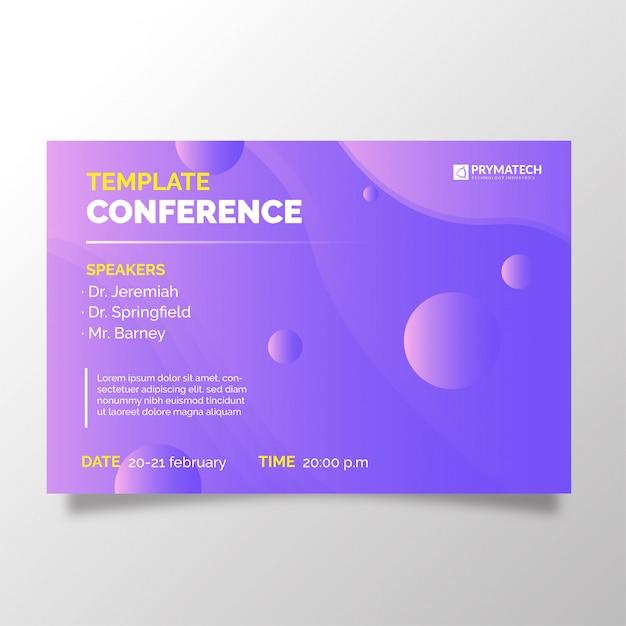 Modern bedrijfsconferentiemalplaatje met abstracte achtergrond Gratis Vector