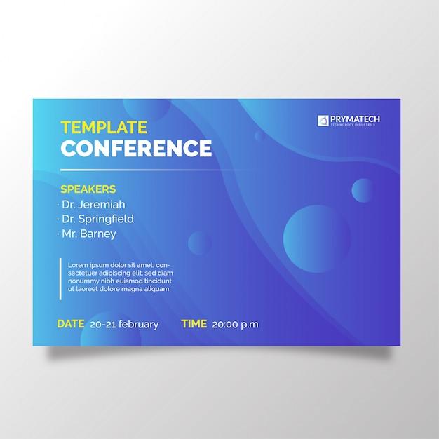 Modern bedrijfsconferentiemalplaatje met degradieachtergrond Gratis Vector
