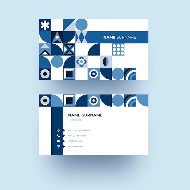 Modern bedrijfskaartsjabloon met blauwe vormen Gratis Vector