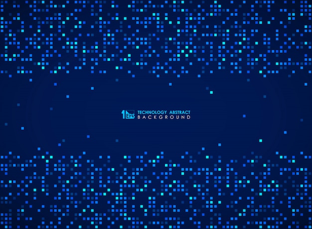 Modern blauw vierkant bitpatroon van futuristische ontwerpachtergrond. Premium Vector