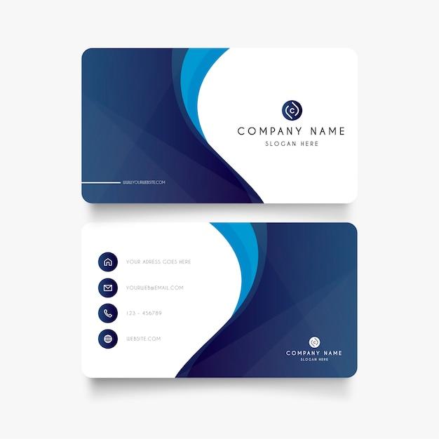 Modern blauw visitekaartje met abstracte vormen Gratis Vector