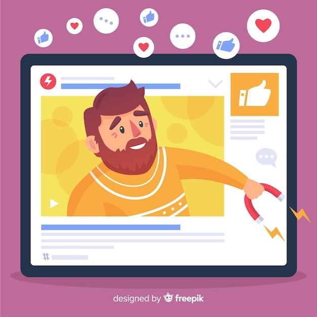 Modern bloggerconcept met plat ontwerp Gratis Vector