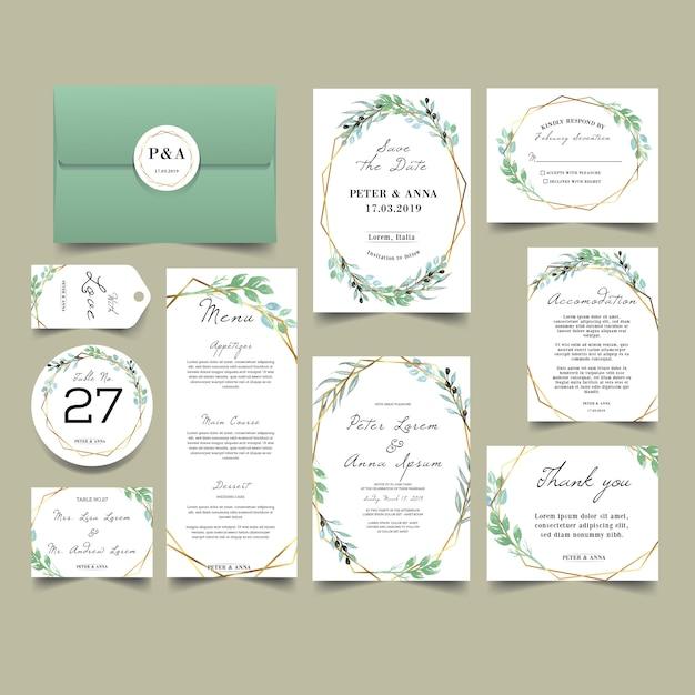 Modern bloos groen huwelijksuitnodiging Premium Vector