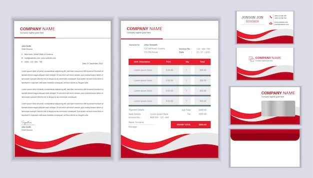 Modern briefpapier zakelijke huisstijl ontwerp met briefhoofdsjabloon factuur en visitekaartje briefpapier sjabloonontwerp Premium Vector