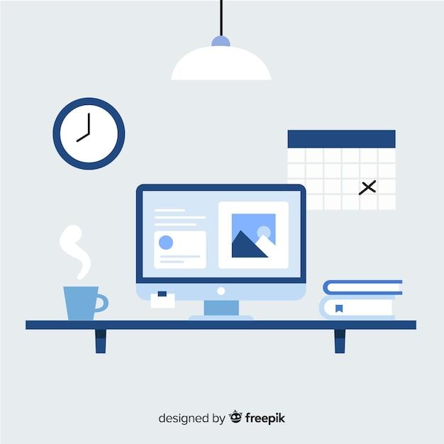 Modern bureau met een plat ontwerp Gratis Vector