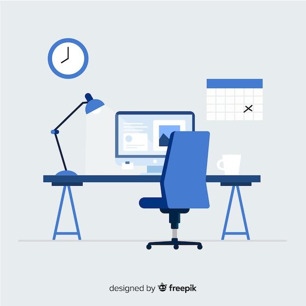 Modern bureau met een plat ontwerp Premium Vector