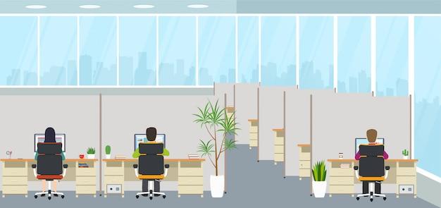 Modern bureaubinnenland met werknemers Premium Vector