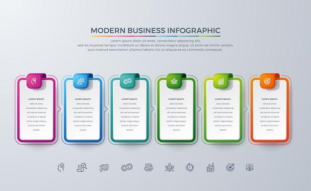 Modern business infographic-ontwerp met 6 proceskeuzes of stappen. Premium Vector