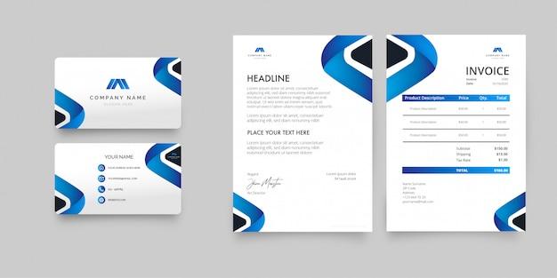 Modern business stationery pack met blauwe vormen Gratis Vector