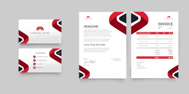 Modern business stationery pack met rode vormen Gratis Vector