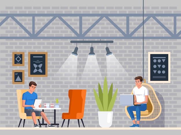 Modern café. interieur restaurant. creatief muizen coworking center. universiteits campus. coffeeshop Premium Vector