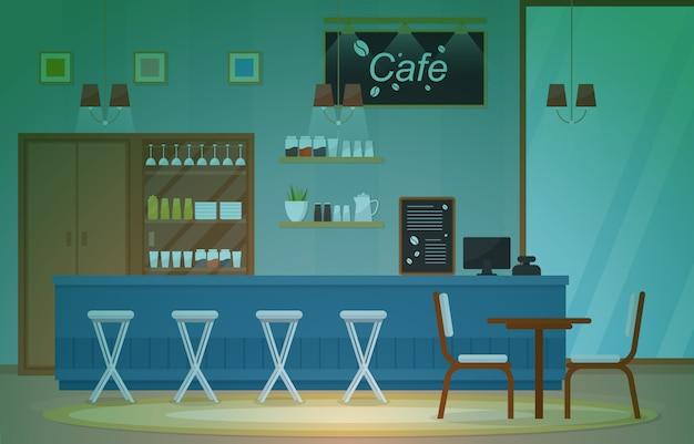 Modern cafe koffiehuis interieur meubels restaurant Premium Vector