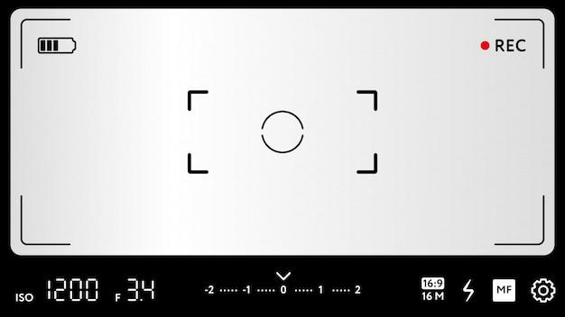 Modern camera focusscherm met instellingen Premium Vector