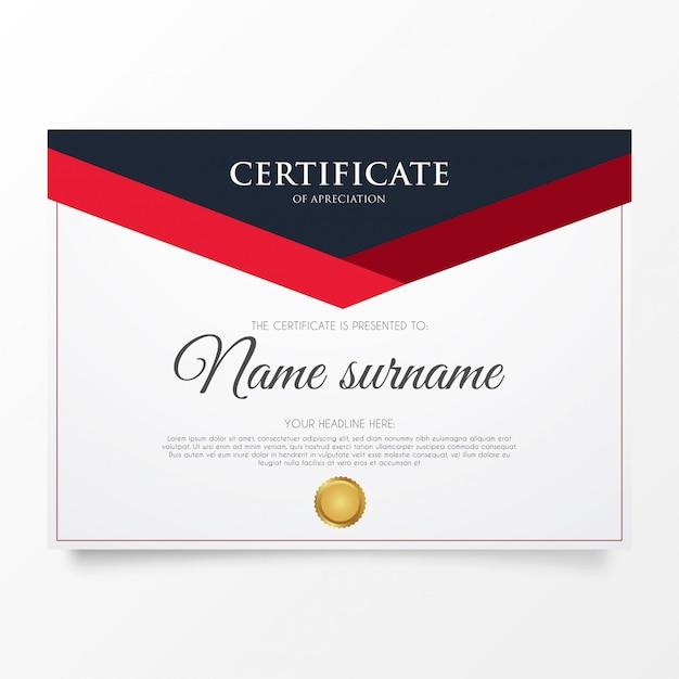 Modern certificaat van waardering Gratis Vector