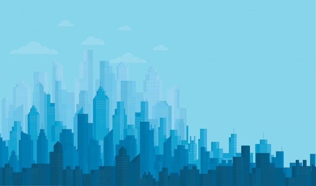 Modern city skyline achtergronden Premium Vector