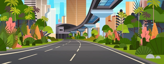 Modern city view horizontal illustration snelweg weg met wolkenkrabbers en spoorwegen Premium Vector