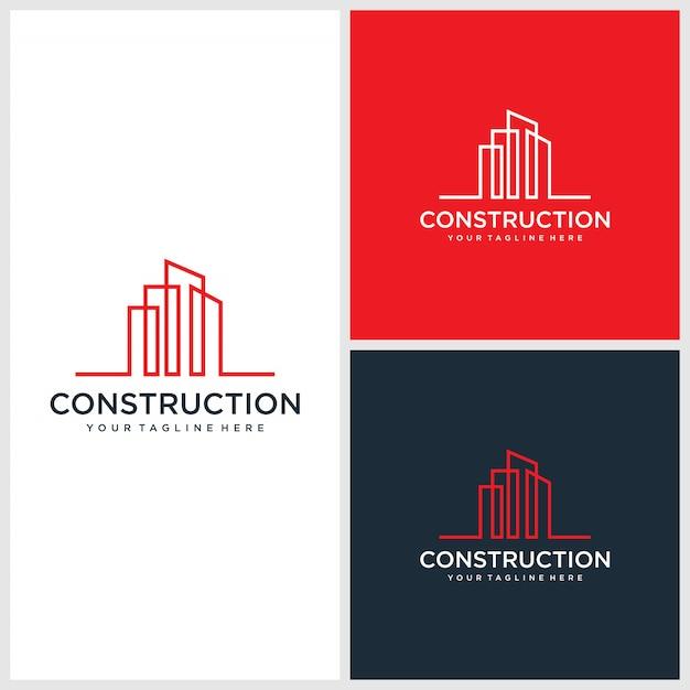 Modern constructie logo ontwerp, architectonisch, premium gebouw Premium Vector