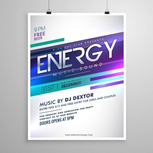 Modern creatieve muziek flyer template ontwerp Gratis Vector
