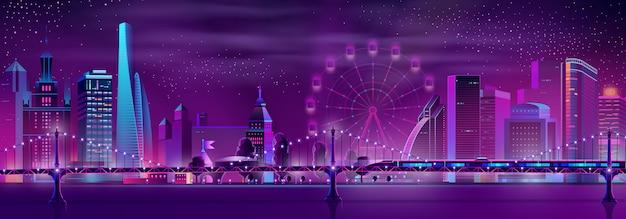 Modern de nachtlandschap van het stadsneonbeeldverhaal Gratis Vector
